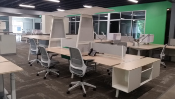 Group desking area with mesh back office chairs and a decorative high hanging shelf