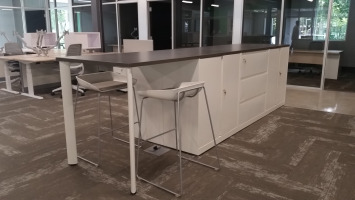 Long worksurface island with two stools