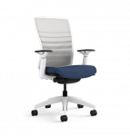 Blue and white desk chair