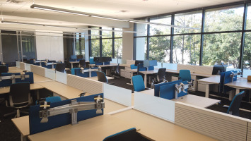 Hotel desking in a blonde laminate with deep blue privacy screens and blue Steelcase Leap chairs. A glass window wall shows the outside scenery of trees.